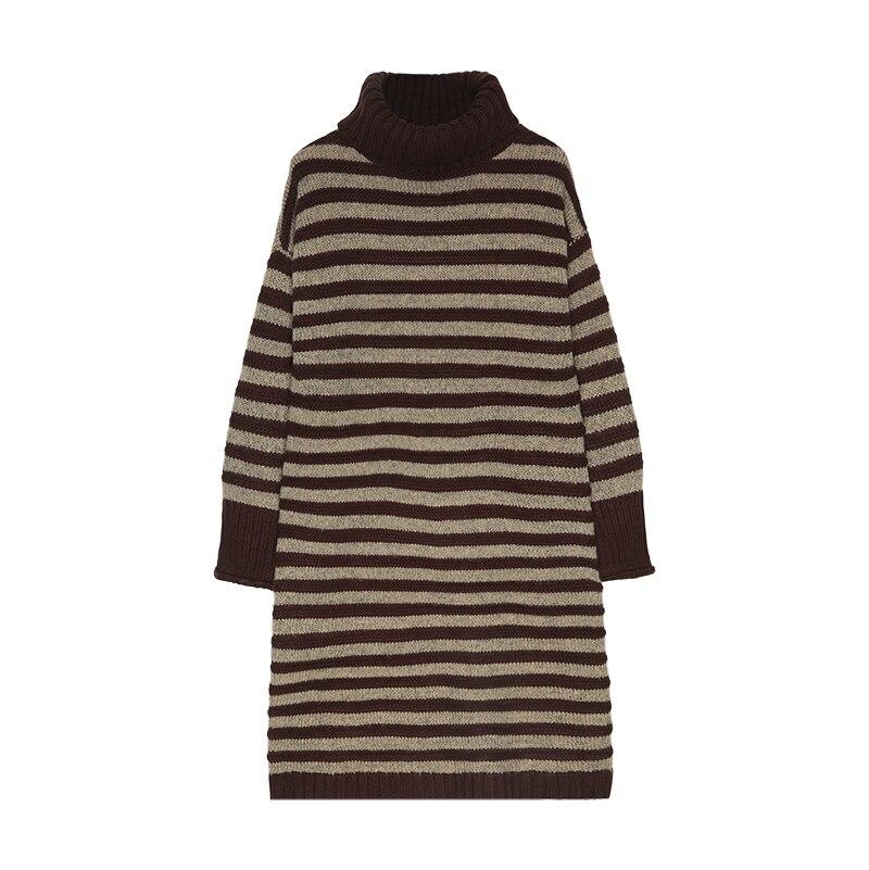 Moyenne Hiver Haut Robe Longue Noir Genou Col Au Femme Automne Longueur Chandail Pull kaki Long De Chandail Épaississement Laine XpXwF8xq