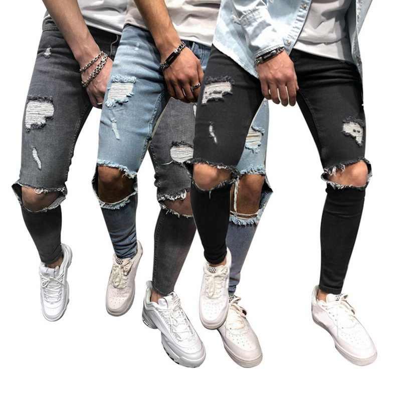 168f138401d ... NIBESSER 2019 de moda Vaqueros Hombre Slim Fit Hola Street hombre  rodilla agujeros apenado Denim Joggers ...