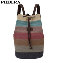 PHEDERA Casual Rainbow Backpack High Quality Canvas Patchwork Striped Women and Men Travel Rucksack Outdoor Male Shoulder Bags