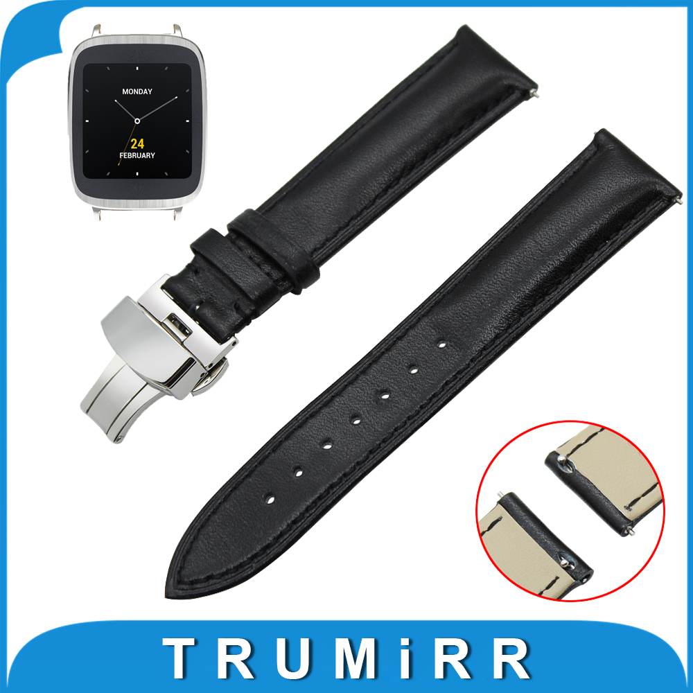 18mm Genuine Leather Watch Band Quick Release Strap for Asus Zenwatch 2 Women WI502Q Butterfly Buckle Wrist Belt Bracelet Black genuine leather watch band 18mm 20mm 22mm for breitling stainless butterfly buckle strap wrist belt bracelet spring bar tool