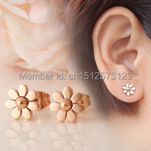 rose gold plated stainless steel daisy flower stud earrings for women brincos,fashion pendientes brand joyas 2015 jewelry bijoux