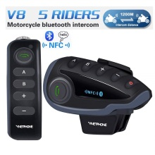 V8 Motorcycle Helmet Bluetooth Headset,Intercom Communication Speaker 5 Riders Full Duplex Handsfree Intercom