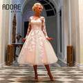 Elegant blush pink dresses Tea Length Full Sleeve lace With Appliques Ball gown Short Cocktail Dress for party