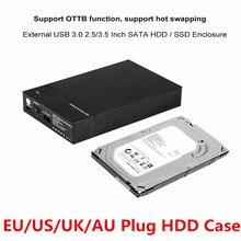 Новый USB 3,0 2,5 «3,5» SATA жесткий диск Внешний корпус SSD HDD Disk Case Box Поддержка UASP 8 ТБ дисков OTB 1 сенсорный резервный