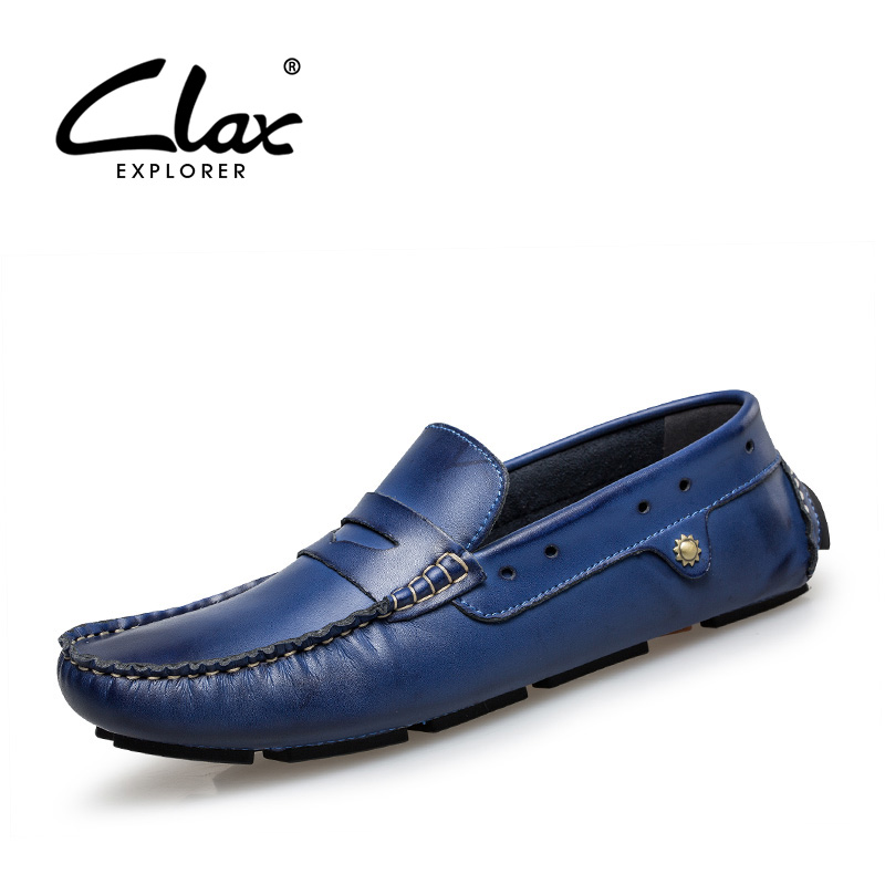 Clax Genuine Leather Shoes Men 2017 Spring Summer Casual Loafers Male Flats Shoe Breathable Moccasins Slip on Elegant Footwear 2017 autumn fashion men pu shoes slip on black shoes casual loafers mens moccasins soft shoes male walking flats pu footwear