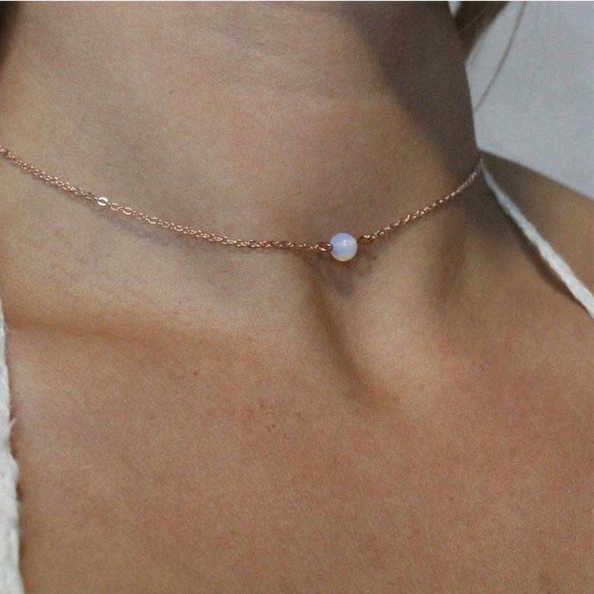 2018 New simple hạt Phụ Nữ chocker vàng chain choker Vòng Cổ Trang Sức collana Kolye Bijoux Collares Mujer Collier Femme joyas