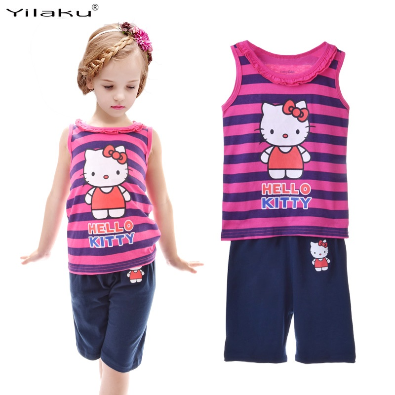 Yilaku Kids Girls Clothes Sets Children Clothing Toddler Girl Summer Clothes Striped Shirts and Pants Sets Outfit S CF225