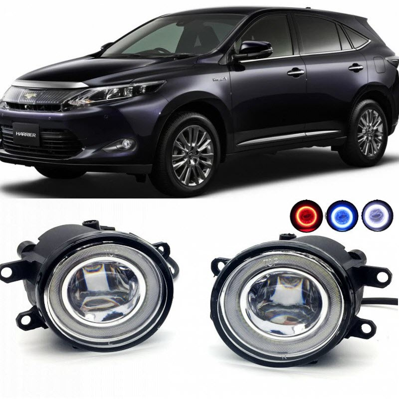 2 in 1 LED Cut-Line Lens Fog Lights Lamp 3 Colors Angel Eyes DRL Daytime Running Lights for Toyota Harrier 2014 2015 2016 for opel astra h gtc 2005 15 h11 wiring harness sockets wire connector switch 2 fog lights drl front bumper 5d lens led lamp