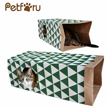 Petforu Folding Portable Cat Tunnel Creative Pet Kitten Cat Play Toy Tunnel - Green + White
