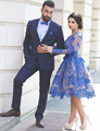 Королевский Синий Длинные Рукава Короткие Коктейль Dress 2017 До Колен Sheer Коктейль Dress Party Vestidos Curtos Ренда Para Festa K04