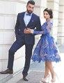 Royal Blue Long Sleeves Short Cocktail Dress 2017 Knee Length Sheer Cocktail Dress Party Vestidos Curtos De Renda Para Festa K04
