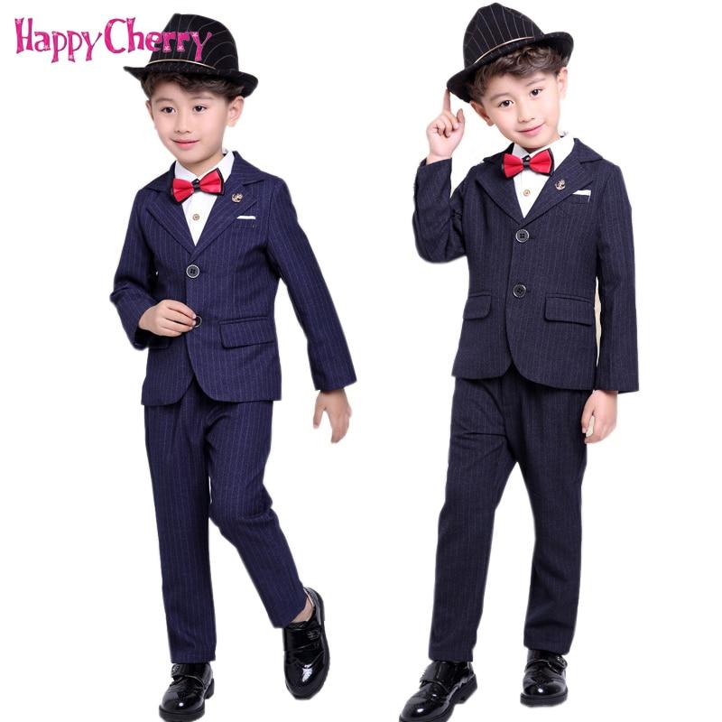 2018 Boys Stripe Suit Gentleman Formal Blazer Vest Pants Sets 2-10Y Toddler Baby Weddings School Party Dress Tuxedos Costumes