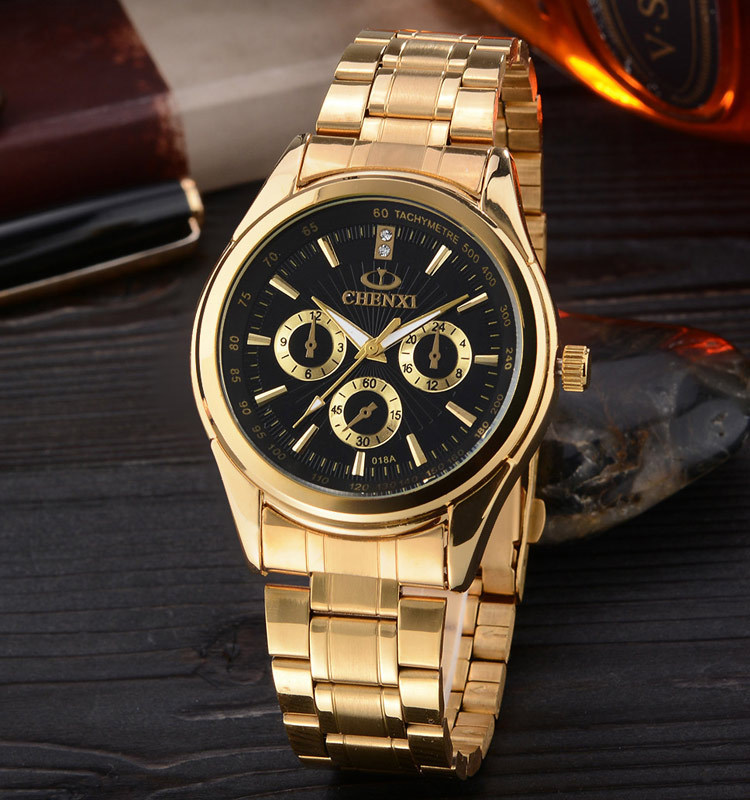 CHENXI Gold Watch Men Watches Top Brand Luxury Famous 2018 Wristwatch Male Clock Golden Quartz Wrist Watch Relogio Masculino chenxi men gold watch male stainless steel quartz golden men s wristwatches for man top brand luxury quartz watches gift clock