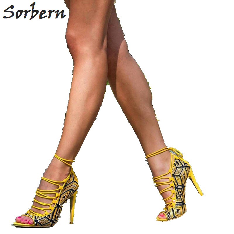 Sorbern Open Toe Lace-Up Ankle Wrap Women Pumps High Heels Drop Shipping Christmas Party Shoes Designer Shoes Size 4-15