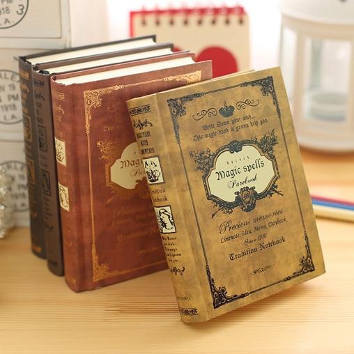 النمط الأوروبي سميكة الرجعية السحرية كتاب دفتر القرطاسية البوق A6 سميكة الإبداعية المحمولة دفتر يوميات المسافرين دفتر