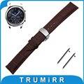 22mm banda reloj de cuero genuino correa de liberación rápida para samsung gear s3 classic/frontera mariposa hebilla de pulsera pulsera de la correa