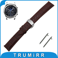 22mm Genuine Leather Watch Band Quick Release Strap For Samsung Gear S3 Classic Frontier Butterfly Buckle