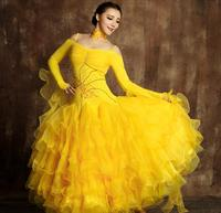 Exquisite luxury rhinethone ballroom dance dresses 6 color Competition standard dance dress waltz