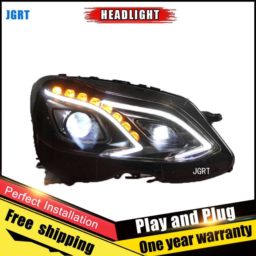 2 pces estilo do carro faróis led para benz e class 09 15 para e class lâmpada de cabeça led drl lente feixe duplo h7 hid xenon bi xenon lente - 5