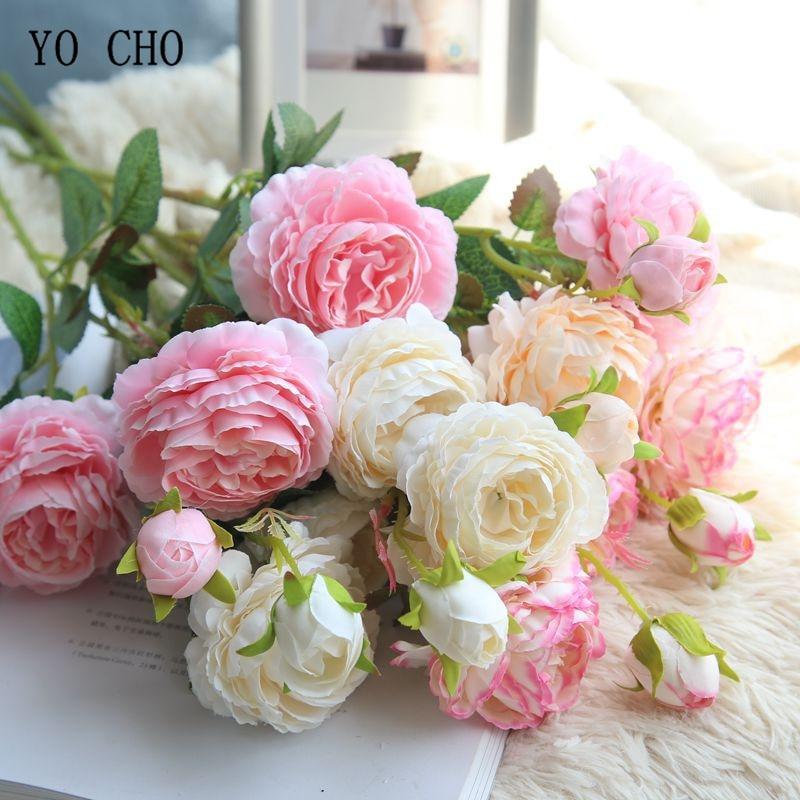 YO CHO Rose Artificial Flowers 3 Heads White Peonies Silk Flowers Red Pink Blue Fake Flower Wedding Decor for Home Peony Bouquet Рыбная ловля