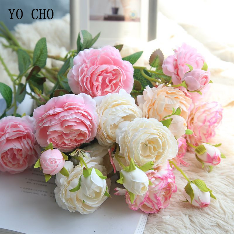 YO CHO Rose Artificial Flowers 3 Heads White Peonies Silk Flowers Red Pink Blue Fake Flower Wedding Decor For Home Peony Bouquet