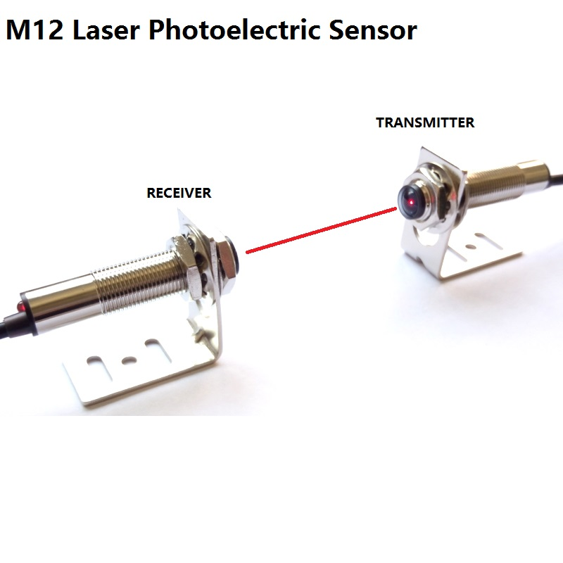 M12 Laser photoelectric sensor visible red light on the laser beam to the NPN PNP NO NC measure distance 20m DC 6V 12V 24V 36V dc three line pnp dw ad 613 m12 235