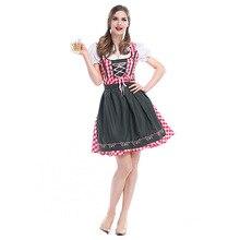 Umorden German Bavarian Oktoberfest Cosplay Women Red Plaid Beer Maid Waiter Costumes Fancy Dress Halloween 3XL Plus Size Big