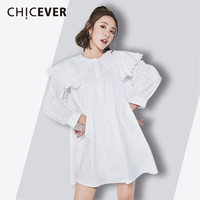 CHICEVER Embroidery Dress Female 2018 Korean Fashion Peter Pan Collar Wrist Sleeve Women S Dresses High