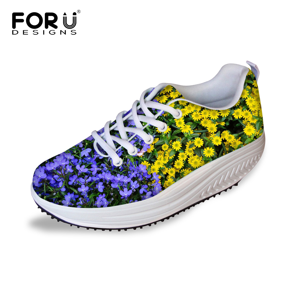 FORUDESIGNS Autumn Women's Flats Swing Shoes 3D Flower Printing Height Increasing Shoes for Ladies Casual Female Platform Shoes forudesigns women casual wedge platform shoes 3d animal rabbit printed height increasing shoes shape ups for female swing shoes