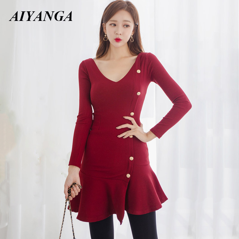 Red Dress Autumn Winter Knitted Dress For Women 2018 Christmas Dresses Women Slim Long Sleeve V Neck Package Hip Fashion OL