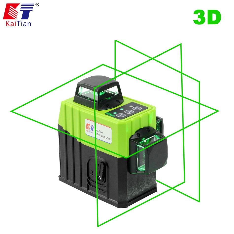KaiTian 12 Linee 3D Laser Livello Staffa 532nm Self-Leveling Croce Orizzontale 360 Verticale Verde del Laser di Fascio Linea di Nivel i livelli di Strumento