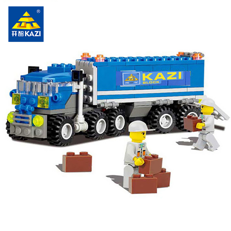 KAZI Toys 163pcs City Building Blocks DIY Truck Car Model Bricks Toys Educational Toy For Children Compatible Legoed City Friend 6727 city street police station car truck building blocks bricks educational toys for children gift christmas legoings 511pcs