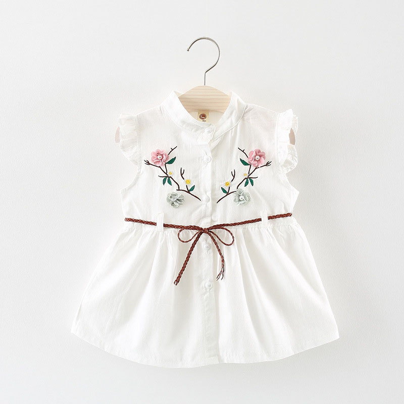 toddler baby girls dress infant kid summer clothing newborn sleeveless dress embroidery 6 12 18 24 month white yellow 1 2 year