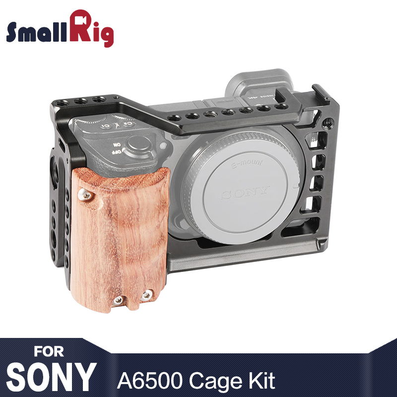 SmallRig 6500 Camera Cage Kit for Sony A6500 Camera With Wooden Handle Grip Form fitting A6500 cage Stabilizer 2097