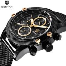 купить 2019 BENYAR Watches Men Sport Chronograph Fashion Mesh Band Waterproof Luxury Brand Quartz Watch Gold Saat Relojes Hombre montre по цене 1506.19 рублей