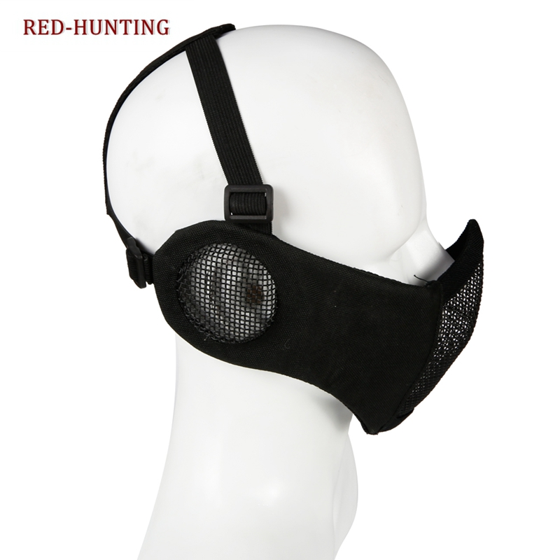 Half Face Mask Lower Steel Mesh Mask With Ear Guard Protection For Airsoft Paintball BBs Shooting