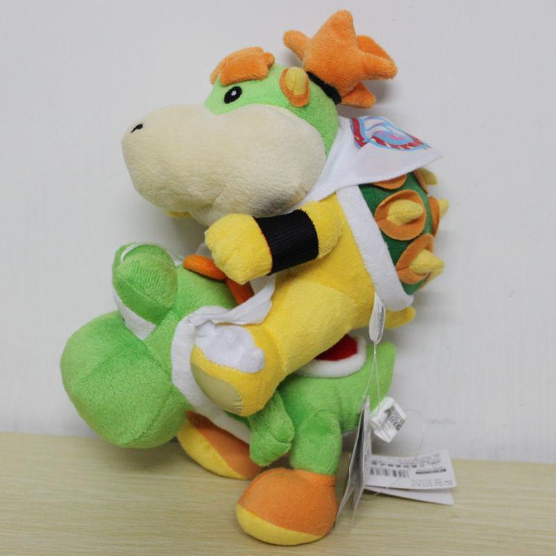 2Pcs/Set 16cm Super Mario Baby Bowser Green Yoshi Stuffed Animal Plush Toy Doll