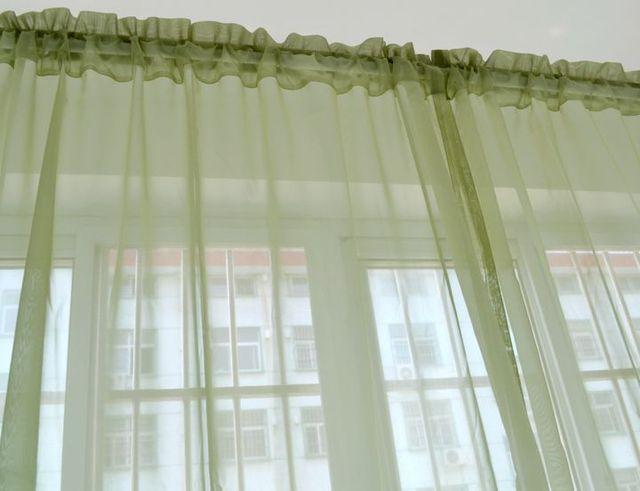 Moda verde blu tenda per finestra tende trasparenti tulle per