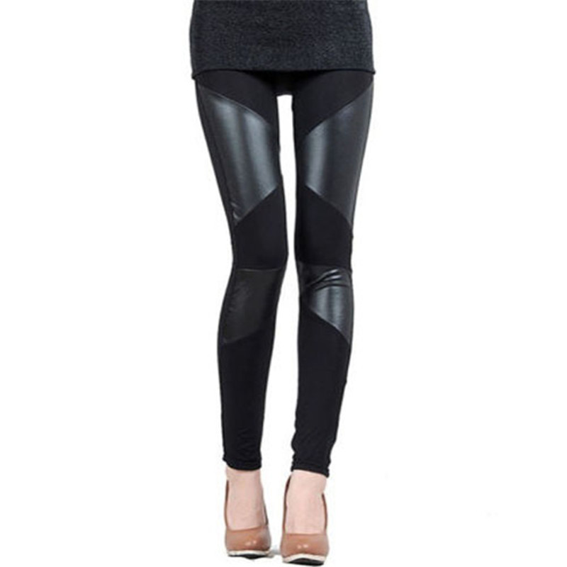 Hot Sell Sexy Fall Women's High Waist Faux Leather High Waisted Patchwork Full Length Pants Leather Leggings Warmer Skinny Pants