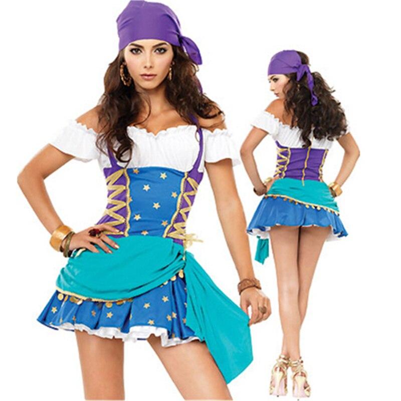 Caribbean Pirates Costumes Sexy Blue Female Pirate Dresses Women Halloween Costume Performance Clothing