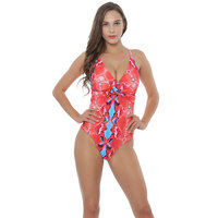 Polovi Sexy Floral Swim Wear Lady High Cut Bathing Suit Ruffle Plus Size Monokini Thong Swimwear