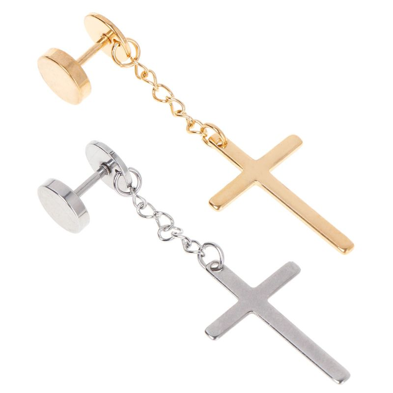 Fashion Men Women Silver Gold Titanium Steel Cross Pendant Necklace Chain Gift