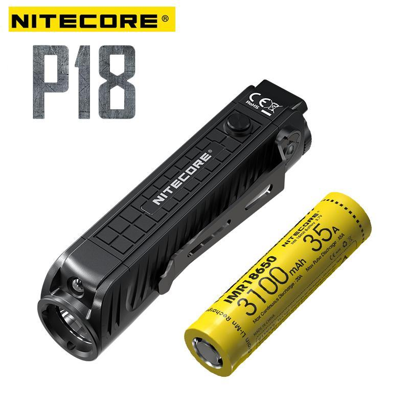 Nitecore P18 Unibody Die case Futuristic CREE XHP35 HD LED 1800 Lumens with Auxiliary Red Light