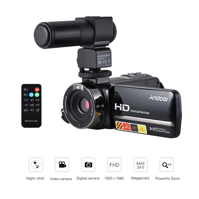 Andoer 24Mega Digital Video Camera 1080P Full HD with Night-shot with Stereo Microphone Video Recording Interview Microphone