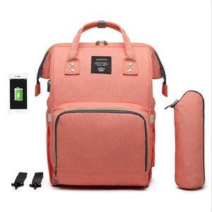 Image 3 - LEQUEEN USB сумка для подгузников, для ухода за ребенком, Большой Вместительный рюкзак для мамы, для мам, влажная сумка, водонепроницаемая сумка для беременных