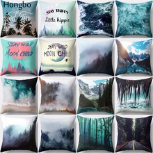 Hongbo 1 Pcs Wave Mountain Forest Pattern Pillow Case Cushion Cover Polyester Square For Car Sofa Home Decor