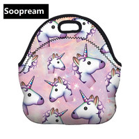 3D Unicorn Dessert Coffee Office Pouch Thermal Insulated Neoprene Lunch Bag Women Kids Lunchbags Cooler Insulation