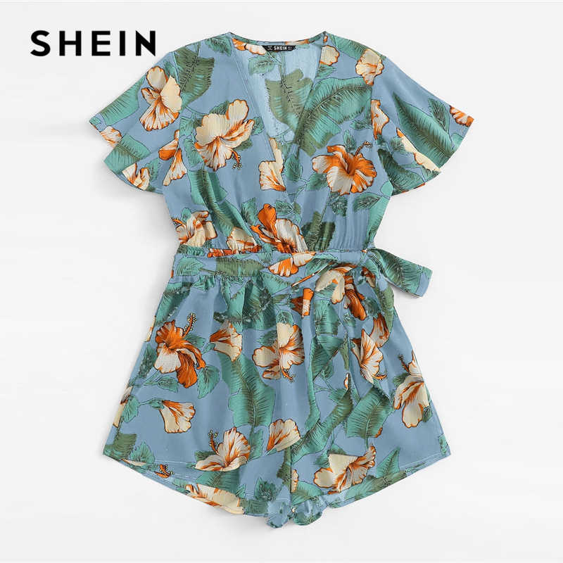 SHEIN Boho Blue Flutter рукав Surplice wrap тропический комбинезон женский весенний короткий рукав элегантный средней талии V шеи комбинезоны