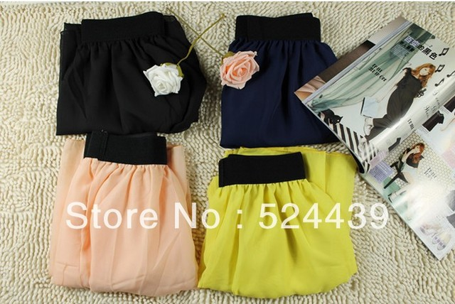 Free Shipping Chiffon skirt Elastic Waist colorfull Chiffon Long Skirt Fashion Hot Sales Bohemian Princess Skirt High Quality
