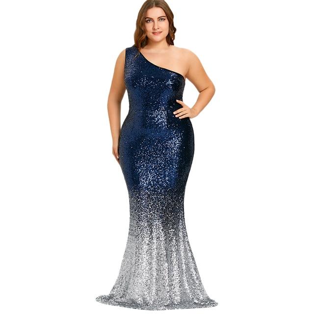 Kenancy 5xl Plus Size Mermaid Dress One Shoulder Sleeveless Sequined Women Floor Length